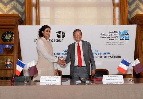 Her Excellency Sheikha Hind bint Hamad signs an agreement with Institut Pasteur