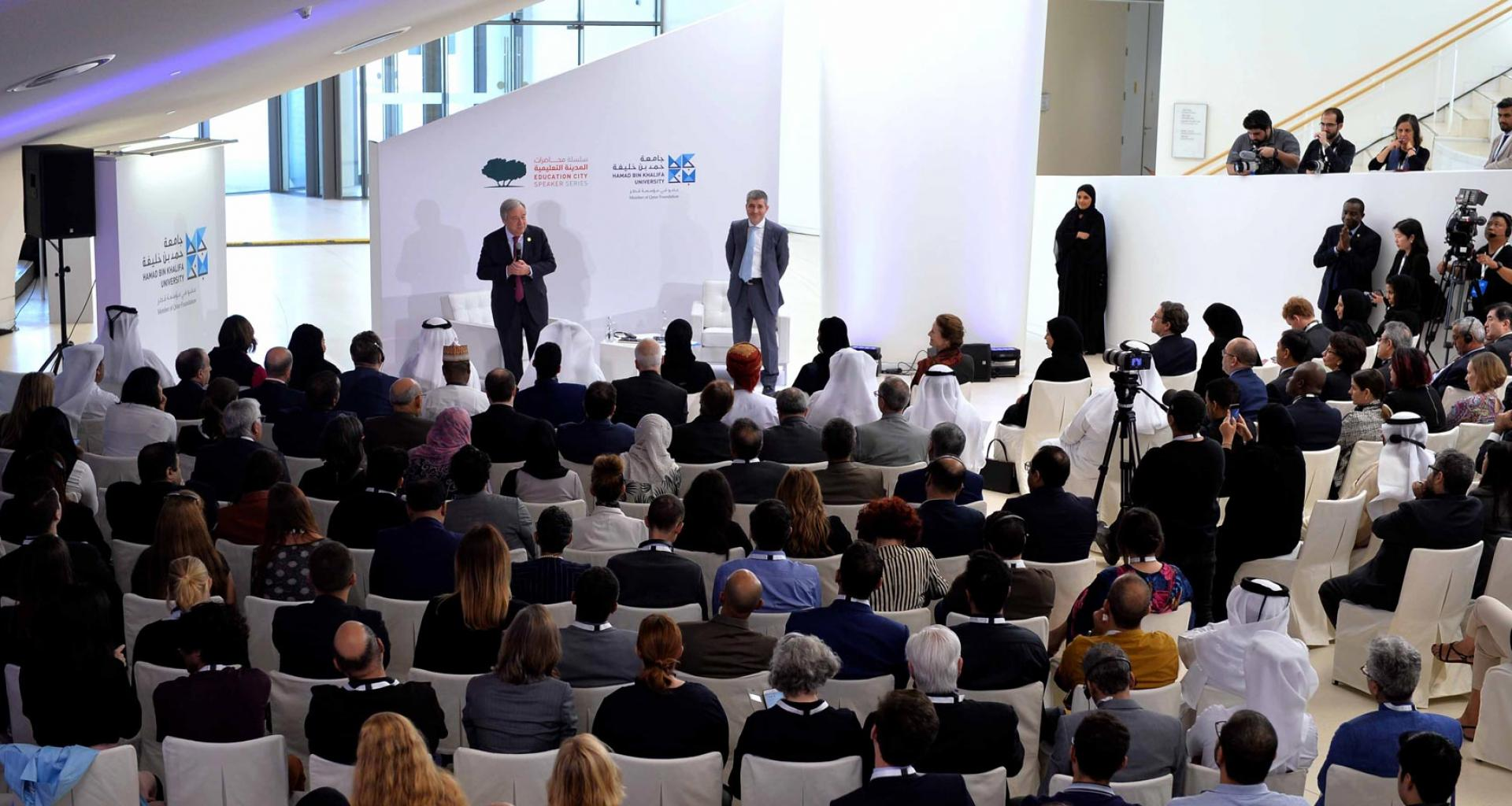 HH Sheikha Moza bint Nasser Attends Lecture by UN Secretary-General Hosted by HBKU